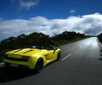 Gallardo Lp560 Spyder Yellow Rear View Wallpaper