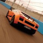 Gallardo Superleggera2007 Rear On Speed Track Wallpaper