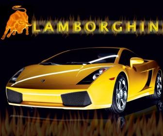 Gallardo Yellow Front With Logo Wallpaper