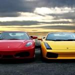 Gallardo Yellow With Red Ferrari Wallpaper