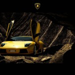 Murcielago Yellow Front View From Cave Wallpaper
