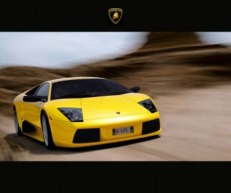 Murcielago Yellow Front View Moving Wallpaper